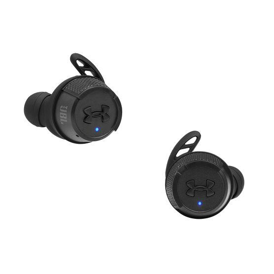 UA True Wireless Flash X - Engineered by JBL - Black - Waterproof true wireless sport earbuds - Front