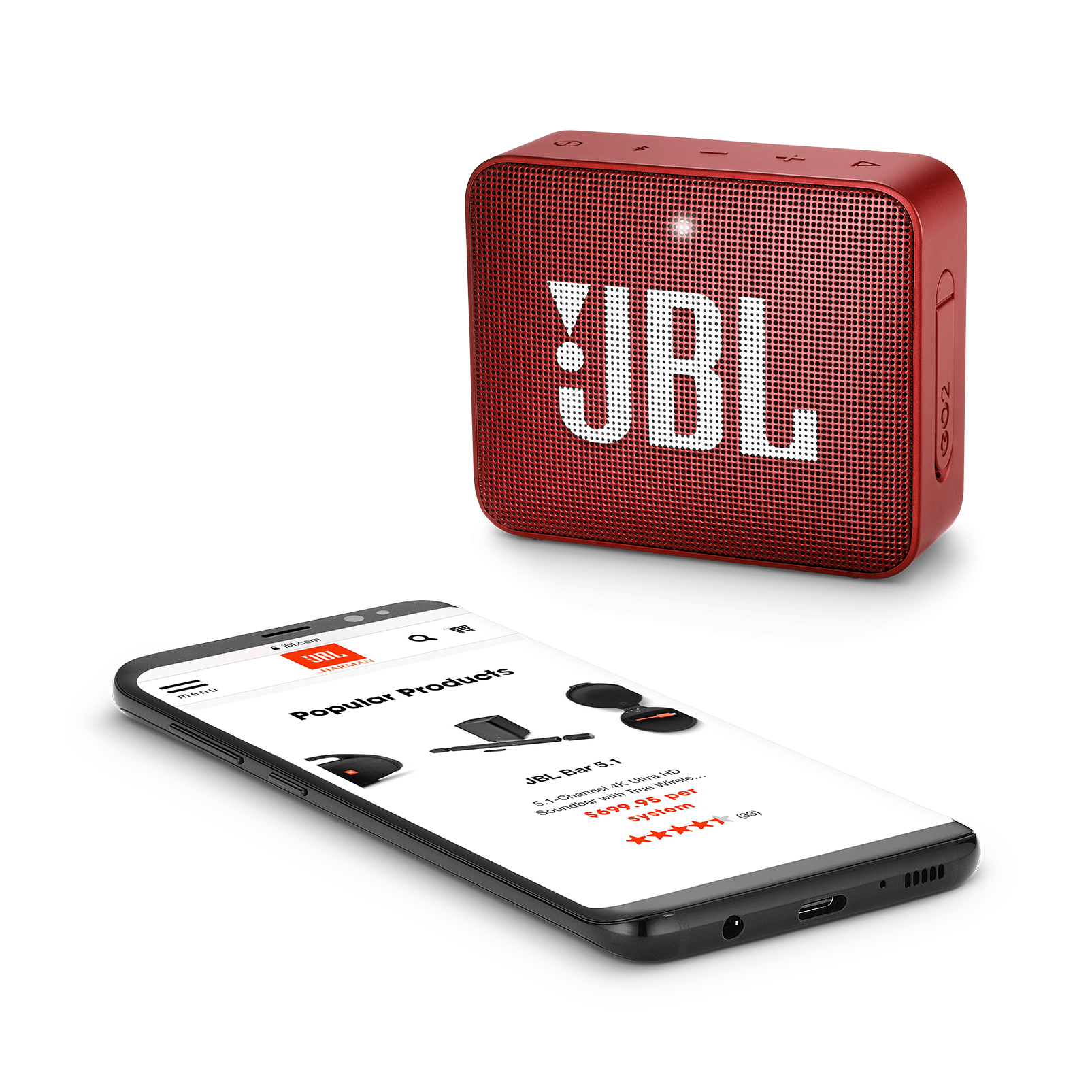 JBL GO 2 - Ruby Red - Portable Bluetooth speaker - Detailshot 3